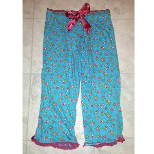 Turquoise Blue and Pink Floral Print Pajama Pants